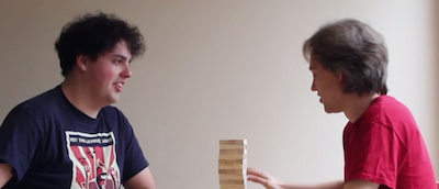 Matt and Tom playing Chess Clock Jenga